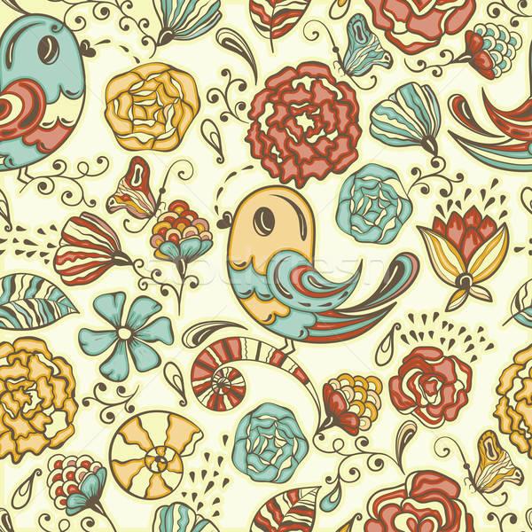 Vector naadloos voorjaar patroon eps Stockfoto © alexmakarova