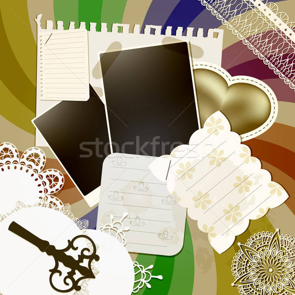 vector scrapbook design with abstract retro background,vintage k Stock photo © alexmakarova