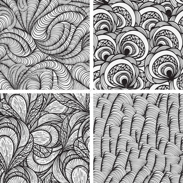 four vector seamless funky monochrome  patterns   Stock photo © alexmakarova