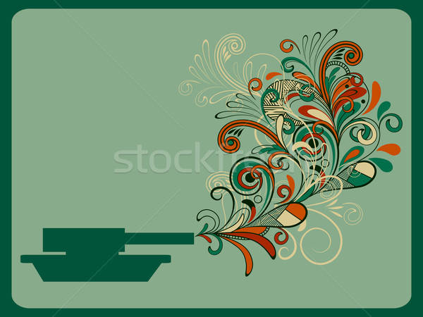 vector piece concept composition with tank and floral pattern Stock photo © alexmakarova