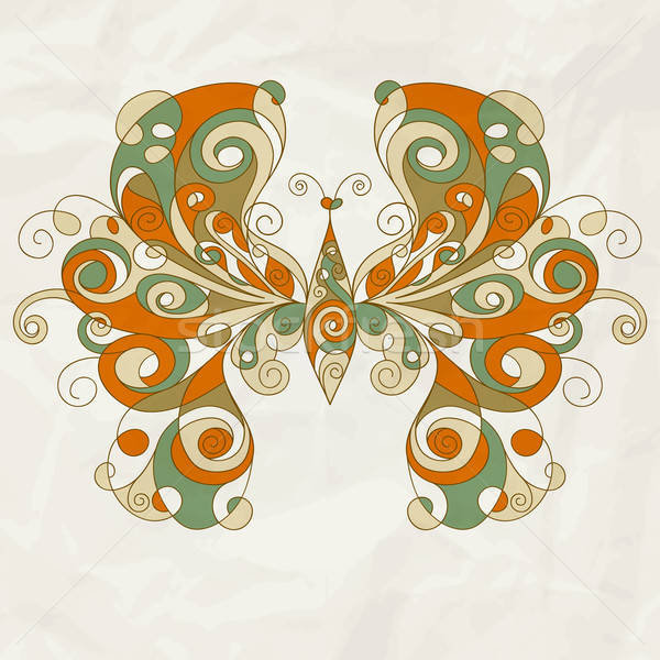 vector stylized butterfly on crumpled paper texture Stock photo © alexmakarova