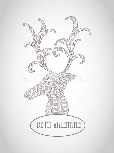 Stock fotó: Vektor · valentin · nap · üdvözlőlap · szarvas · részletes · firka