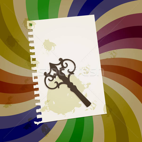 vector abstract retro background with vintage key, shit of paper Stock photo © alexmakarova