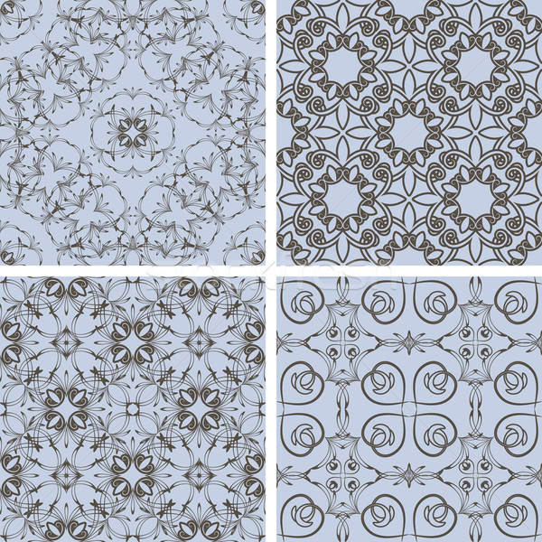 vector seamless floral patterns in blue and brown, oriental styl Stock photo © alexmakarova