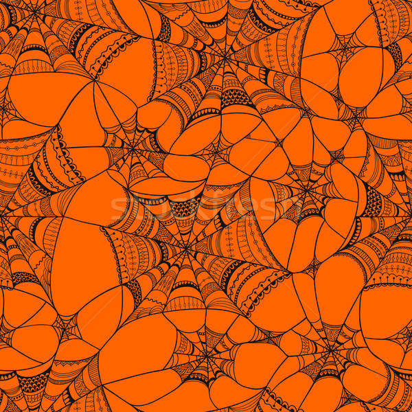 Vector seamless pattern with  spider web on orange  Stock photo © alexmakarova
