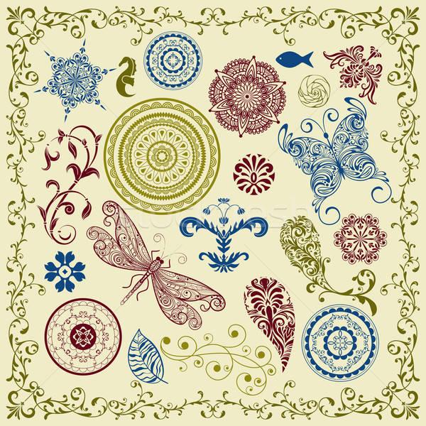 vector summer vintage floral bright  design elements  Stock photo © alexmakarova