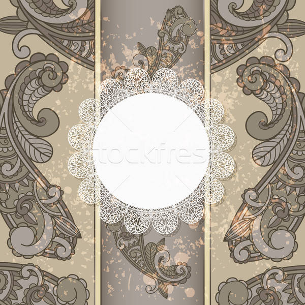 vector menu with paisley pattern and napkin for your text on  gr Stock photo © alexmakarova