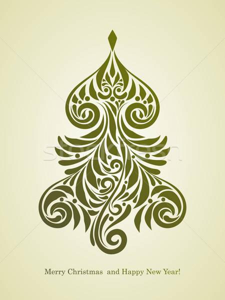 Stock fotó: Vektor · karácsony · üdvözlőlap · fenyőfa · vidám · boldog · új · évet
