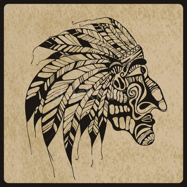 Vector Tattoo, Native American Indian chief Stock photo © alexmakarova