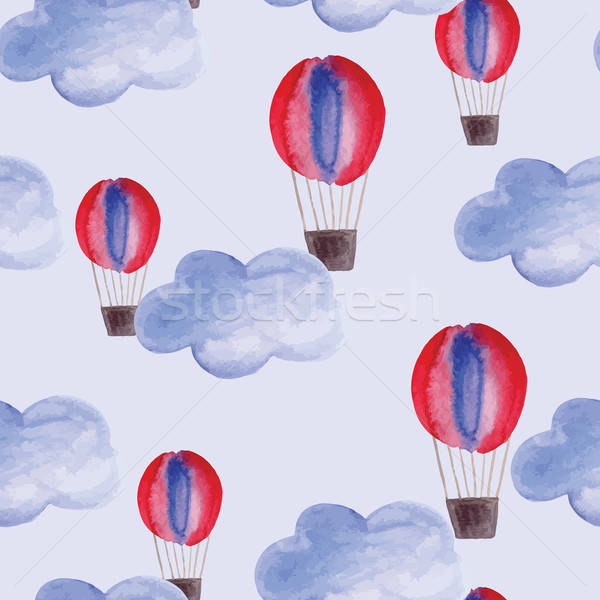Stock photo: Vector Seamless Pattern with Watercolor Clouds and Air Balloons