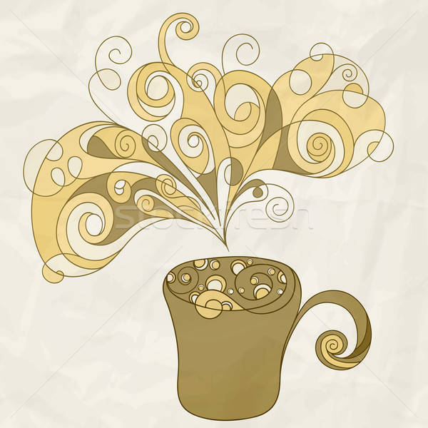 vector stylized cup of coffee on crumpled paper texture Stock photo © alexmakarova