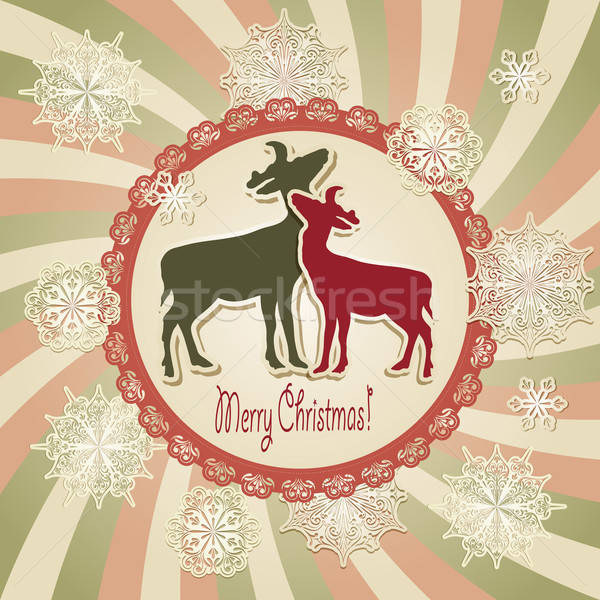 ベクトル クリスマス スクラップブック グリーティングカード 雪 レトロスタイル ストックフォト © alexmakarova
