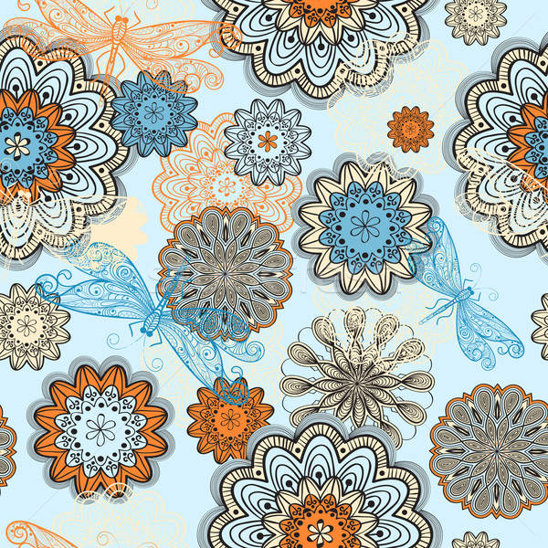 vector seamless abstract  pattern with doodle flowers and dragon Stock photo © alexmakarova