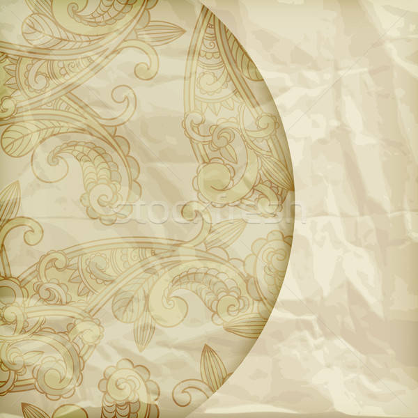 vector retro background with paisley pattern  on crumpled golden Stock photo © alexmakarova