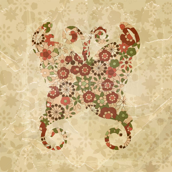 vector spring floral butterfly, vintage style,  old paper textur Stock photo © alexmakarova