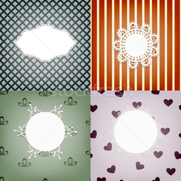set of four vector lacy napkins on retro seamless  patterns, can Stock photo © alexmakarova