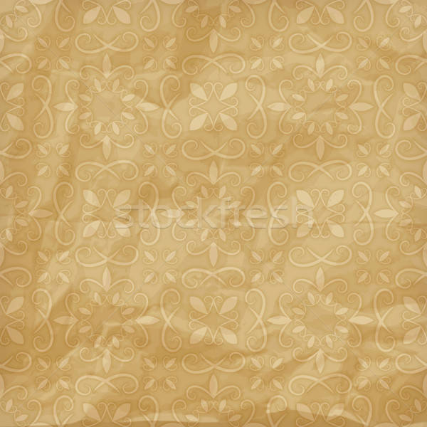 vector seamless  floral pattern on crumpled foil paper texture Stock photo © alexmakarova