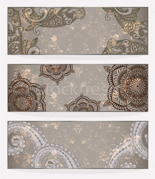three vector banners with paisley pattern and place for your tex Stock photo © alexmakarova