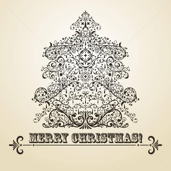 Vektor klasszikus karácsony üdvözlőlap fenyőfa rendkívül Stock fotó © alexmakarova