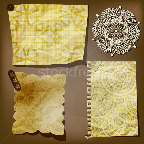 Scrap template of vintage paper piecesand lacy flower Stock photo © alexmakarova