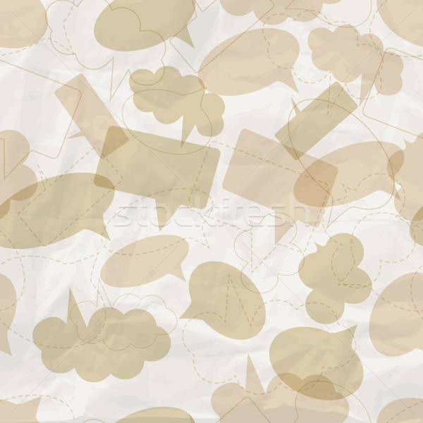 seamless pattern with speech bubbles on  crumpled paper texture Stock photo © alexmakarova