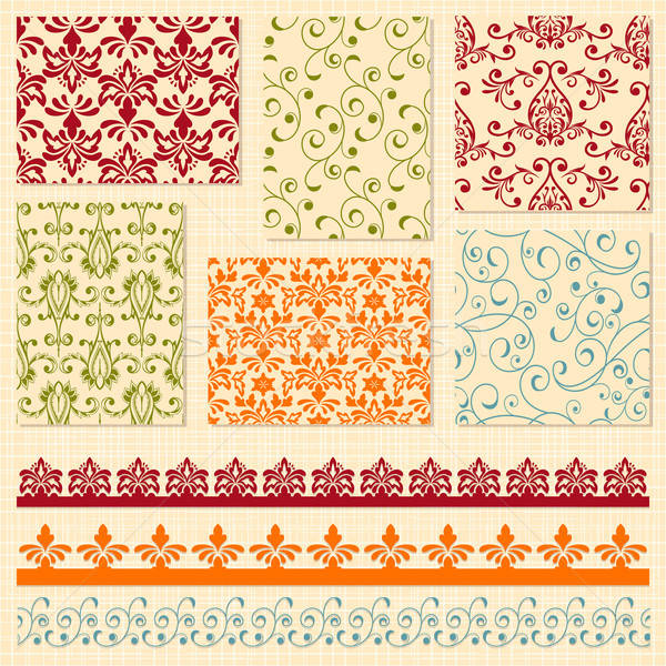 Vector Seamless  Floral Patterns and Lacy Ribbons Stock photo © alexmakarova