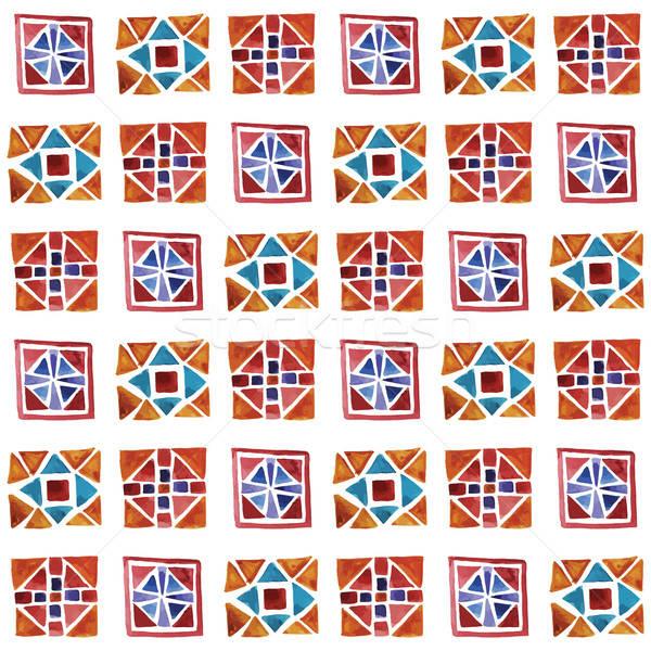 Vector naadloos aquarel geometrisch patroon papier textuur Stockfoto © alexmakarova