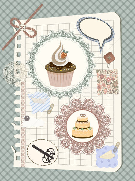 vector scrapbook with nakin and cakes, toys, and other design el Stock photo © alexmakarova
