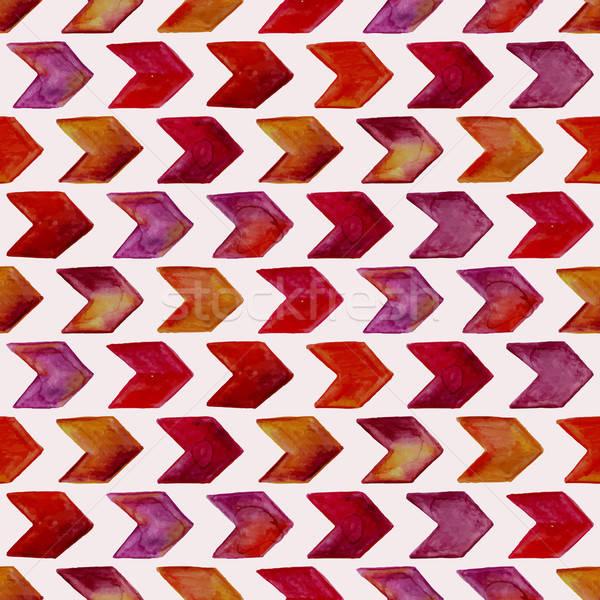 Vettore senza soluzione di continuità acquerello disegno geometrico frecce carta Foto d'archivio © alexmakarova