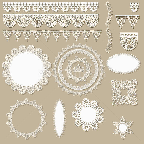 Stock photo: vector lacy scrapbook design elements
