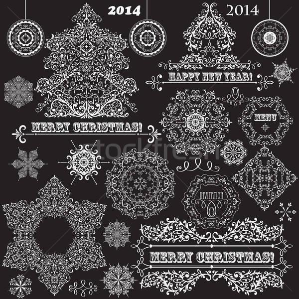 Vector Vintage Christmas Design Elements Stock photo © alexmakarova