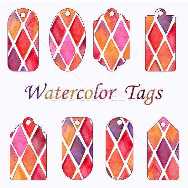 Vector Hang Tags with Watercolor Checked Pattern Stock photo © alexmakarova