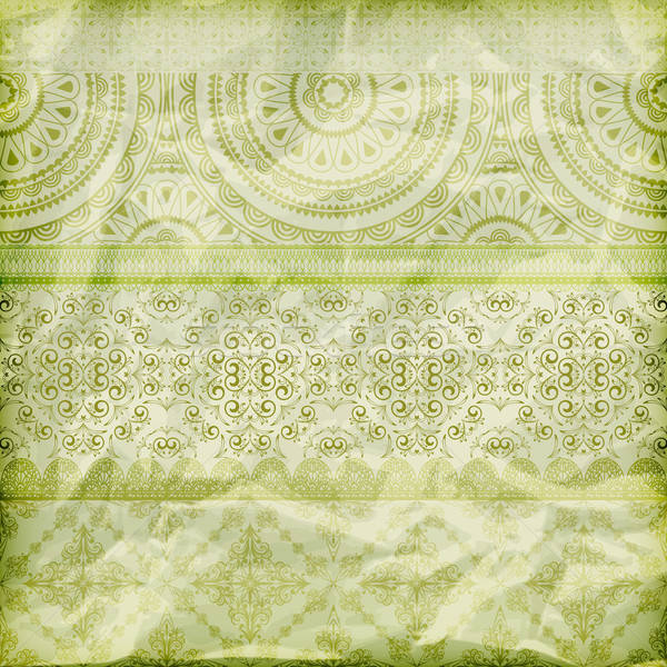 vector seamless floral borders on  crumpled green foil  paper te Stock photo © alexmakarova