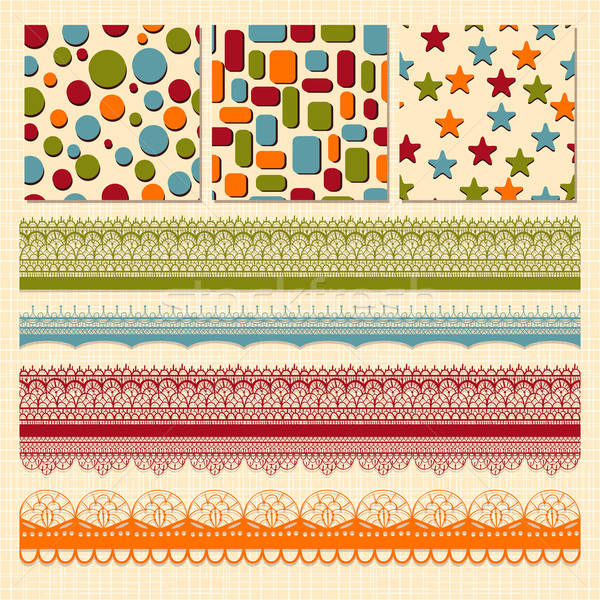 Vector Seamless Patterns and Lacy Ribbons Stock photo © alexmakarova