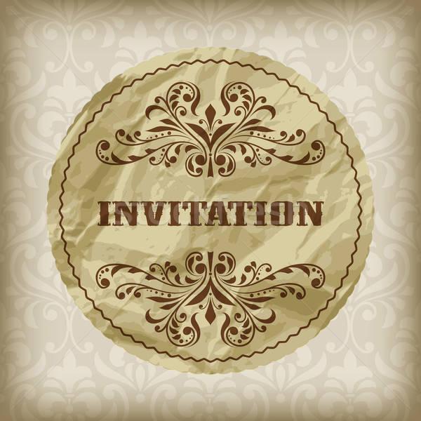 vector vintage invitation card on seamless  attern  Stock photo © alexmakarova
