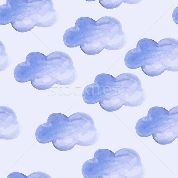 Stock photo: Vector Seamless Pattern with Watercolor Clouds