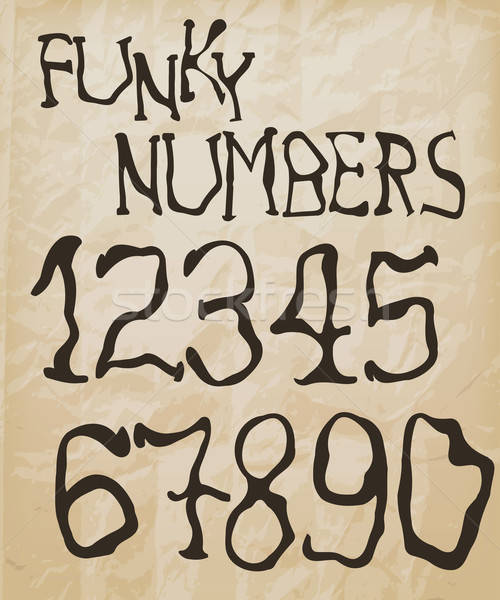 Retro Vector Self Made Funky Numbers Stock photo © alexmakarova