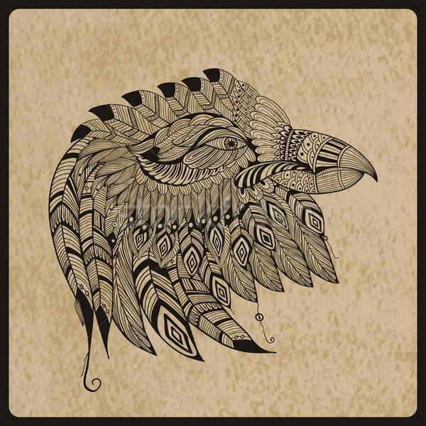 Vector Tattoo Eagle Head Stock photo © alexmakarova