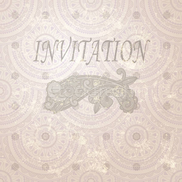 vector vintage invitation with paisley element and seamless east Stock photo © alexmakarova