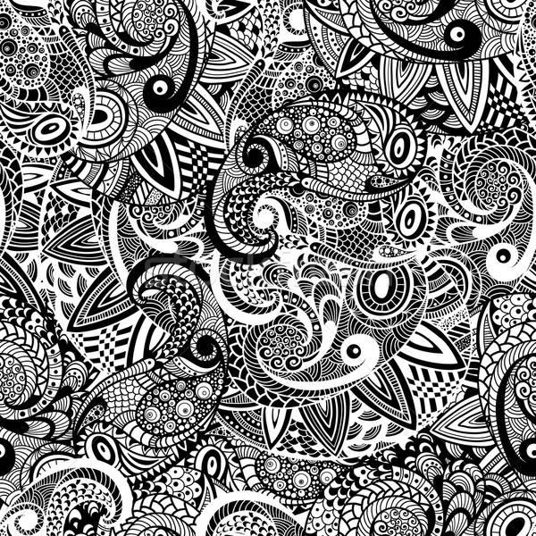 Vector Seamless Paisley Doodle Pattern Stock photo © alexmakarova