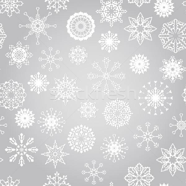 Vettore senza soluzione di continuità inverno pattern fiocchi di neve foglia Foto d'archivio © alexmakarova