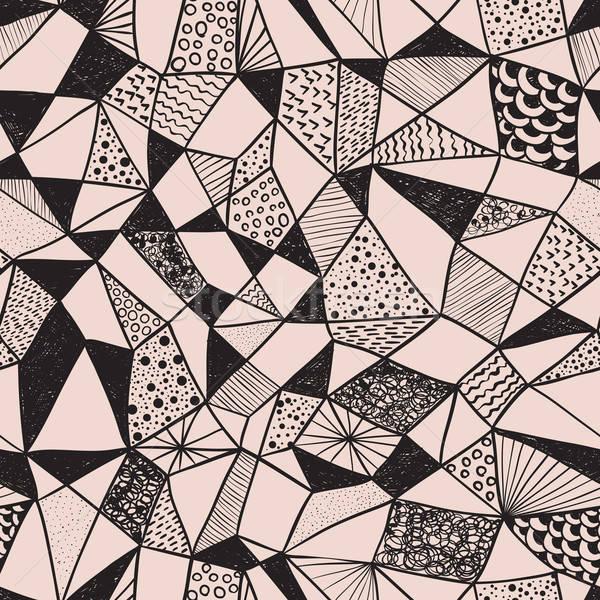 Vektor végtelenített funky minta firka kézzel rajzolt Stock fotó © alexmakarova