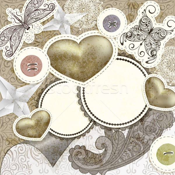 vector vintage scrap template design with hearts, for valentine' Stock photo © alexmakarova