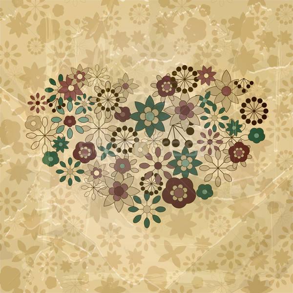 Vektor tavaszi virágok szervezett szív formák régi papír Stock fotó © alexmakarova