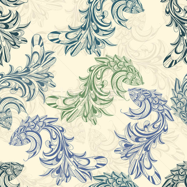 vector seamless pattern with concept  fishes Stock photo © alexmakarova