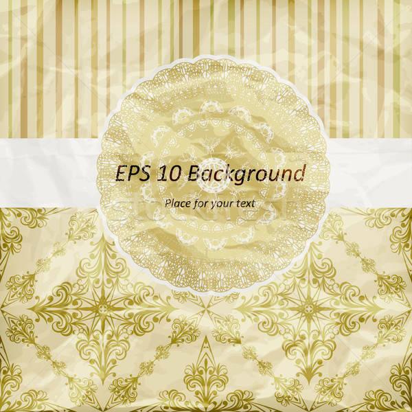 vector vintage pattern, golden napkin on floral and striped back Stock photo © alexmakarova