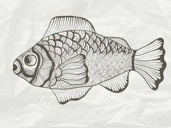 Vektor funky Fisch Papierstruktur Hand gezeichnet Doodle Stock foto © alexmakarova