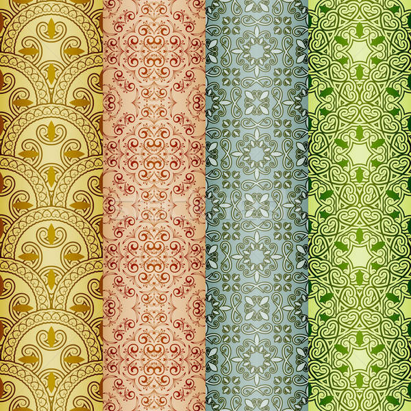 Stock photo: vector seamless patterns, oriental style