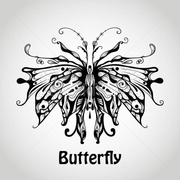 Vektor grafikus pillangó nemibetegség absztrakt levél Stock fotó © alexmakarova