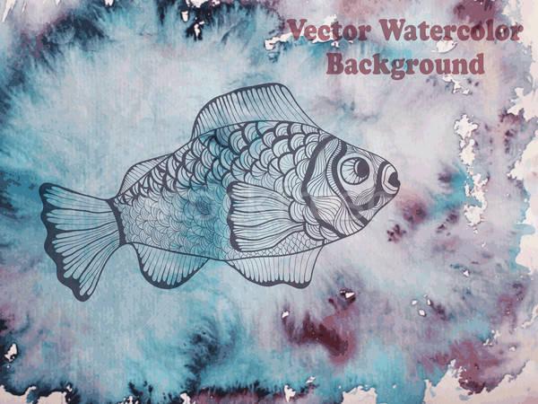 Vettore pesce acquerello eps Foto d'archivio © alexmakarova